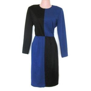 1980s vintage color block midi dress size large